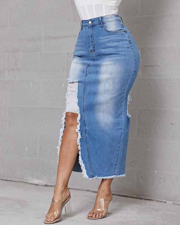 Split Side Raw Hem High Waist Denim Skirt gallery 1