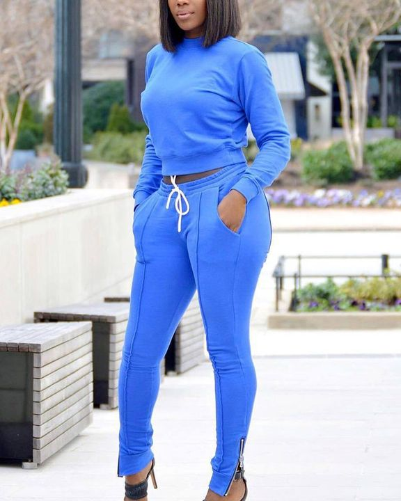 Solid Zipper Detail Round Neck Top & Pants Set gallery 5