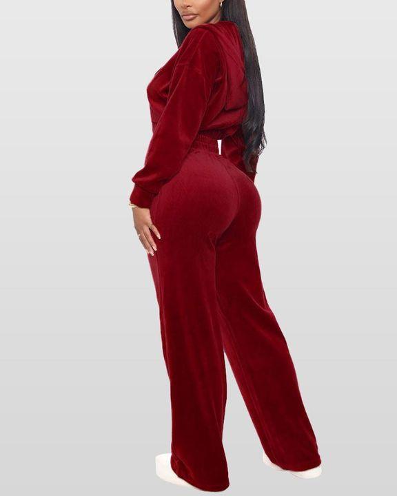 Solid Hooded Zipper Crop Top & Pants Set gallery 8