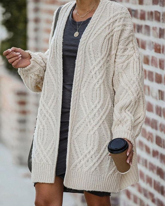 Cable Knit Open Front Drop Shoulder Cardigan gallery 1