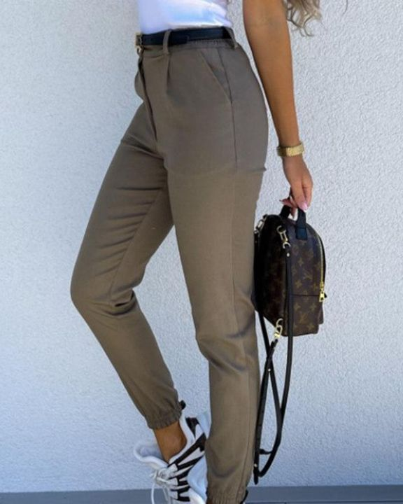 Solid Slant Pocket Elastic Hem Crop Pants gallery 7