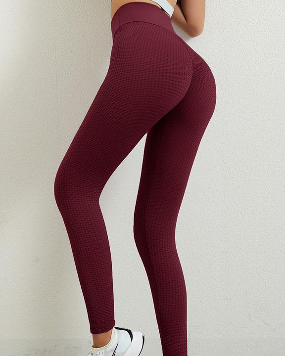 Solid Textured Butt Lifting Leggings gallery 20