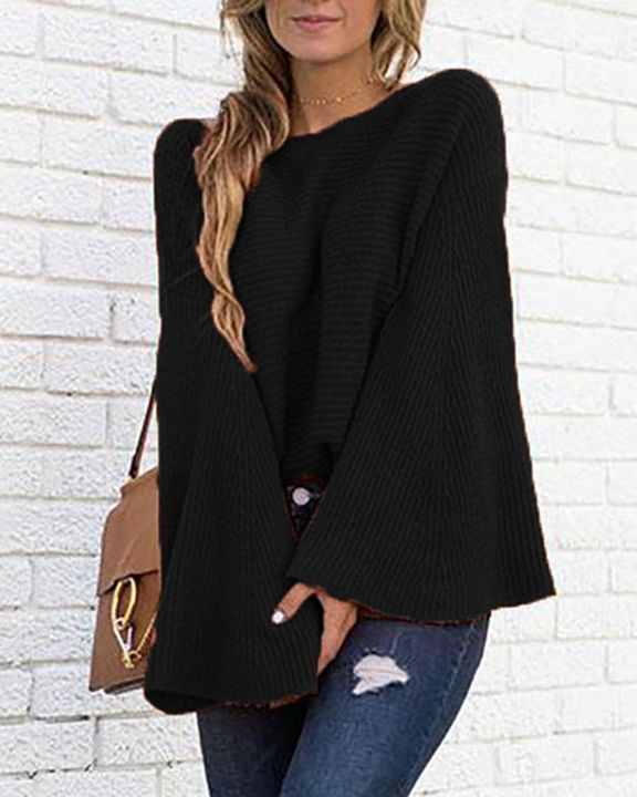 Solid Bell Sleeve Scoop Neck Sweater gallery 15