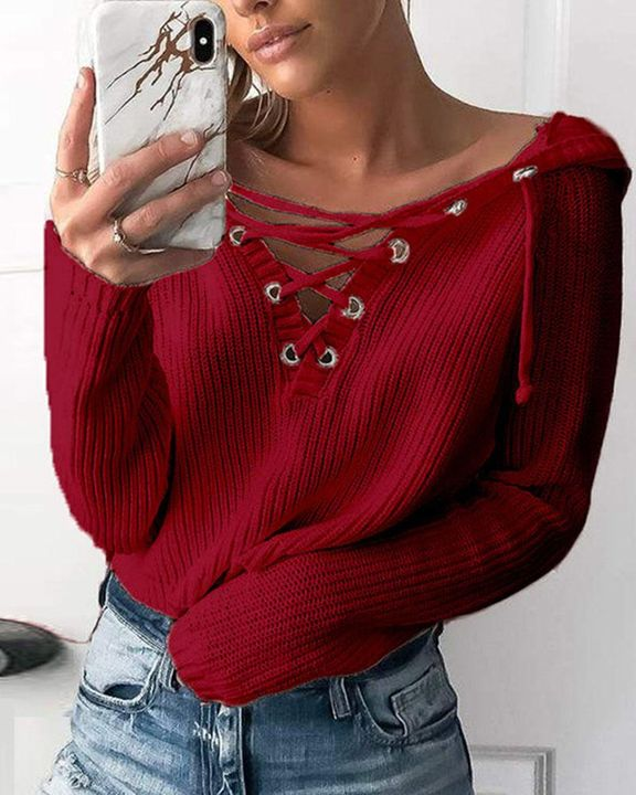 Eyelet Lace Up Ribbed Hooded Sweater gallery 3