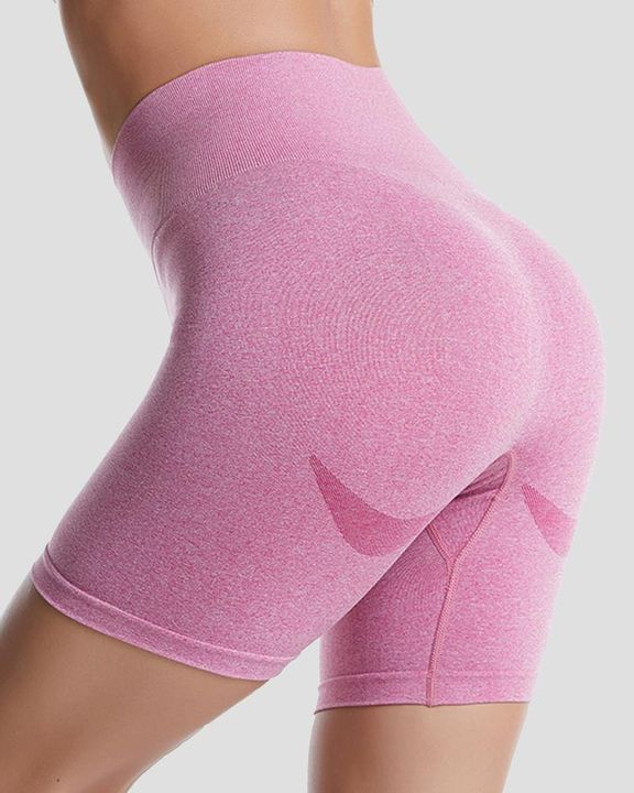 Space Dye Absorbs Sweat Butt Lifting Wide Waistband Sports Shorts gallery 6
