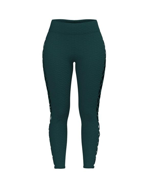 Lace Up Side Textured Ruched Sports Leggings gallery 8