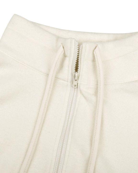 Solid Zip Up Split Hem Stand Collar Jacket gallery 8