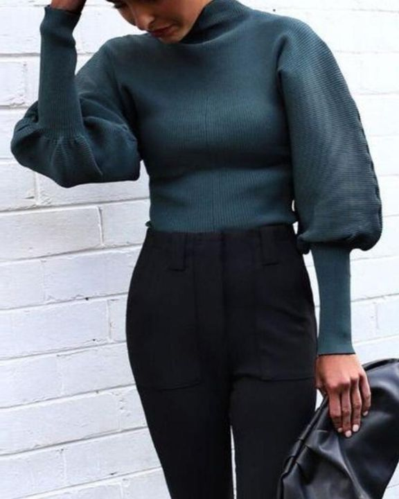 Solid Ribbed Leg-of-mutton Sleeve Sweater gallery 13