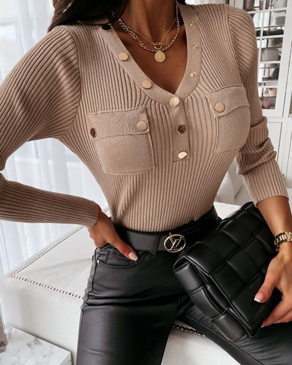 Rib Knit Button Decor Pocket Front Bodycon Sweater gallery 1