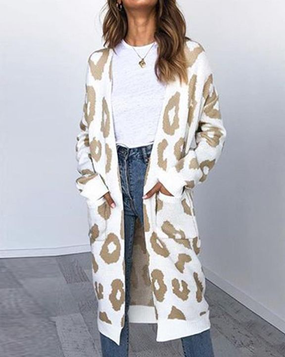 Leopard Print Patch Pocket Open Front Cardigan gallery 9