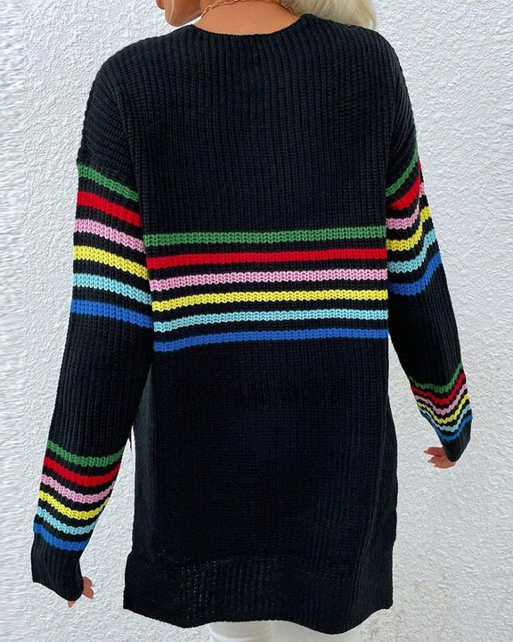 Striped Chunky Knit Drop Shoulder Sweater gallery 5