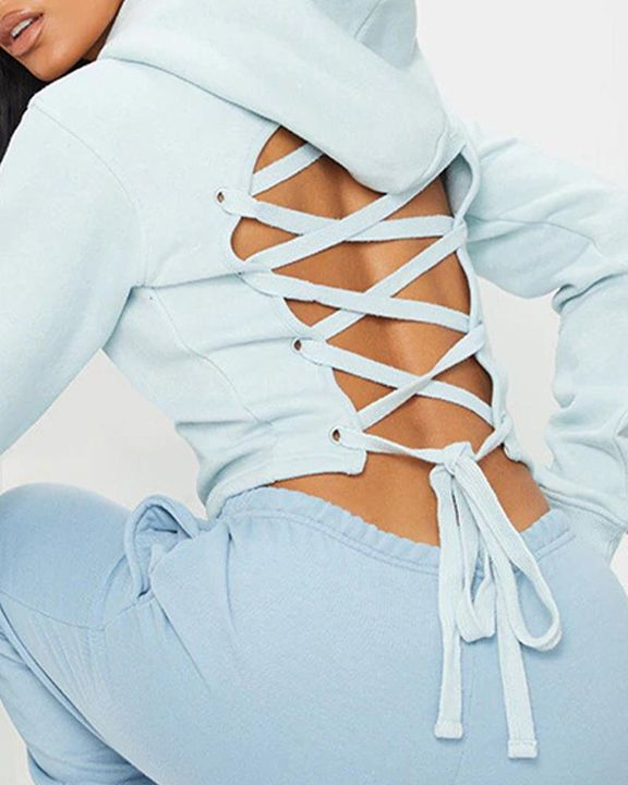 Lace Up Hollow Out Back Crop Hoodie gallery 4