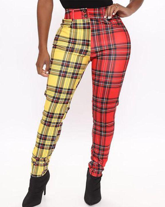 Two Tone Plaid Print High Waist Pants gallery 1
