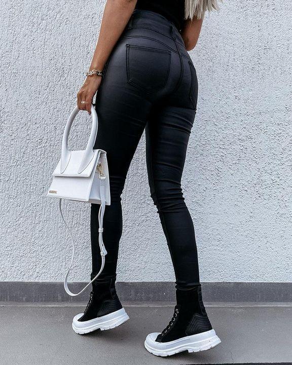 Zipper Front Studded Button High Waist PU Pants gallery 6