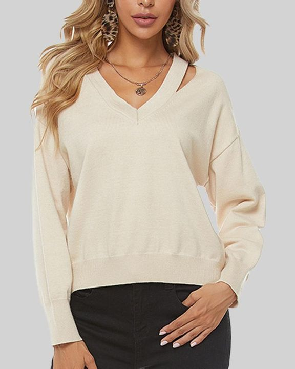 Solid Cutout Asymmetrical V Neck Drop Shoulder Sweater gallery 2