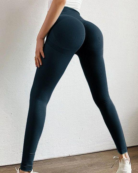 Solid Scrunch Butt High Waist Sports Leggings gallery 16