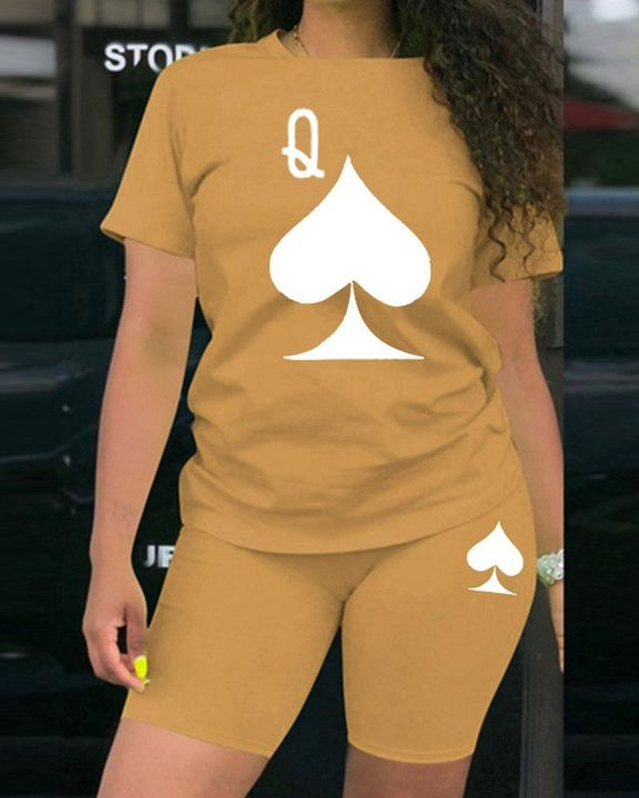 Playing Card Print Round Neck Top & Shorts Set gallery 5