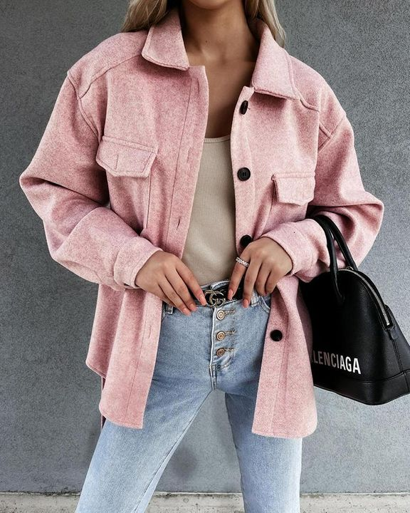 Solid Button Up Flap Pocket Collar Coat gallery 1