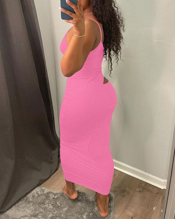 Solid Hollow Out Surplice Neck Cami Dress gallery 11
