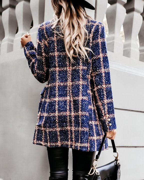 Houndstooth Double Breasted Lapel Neck Coat gallery 19