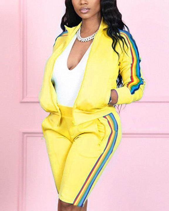 Rainbow Stripe Side Zip Up Collar Jacket Top & Shorts Set gallery 3