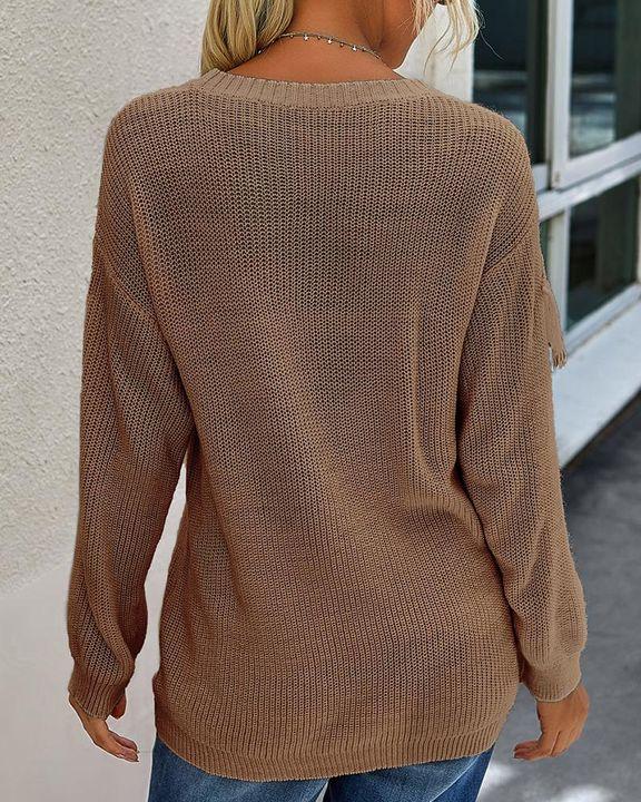 Solid Fringe Trim Drop Shoulder Sweater gallery 11
