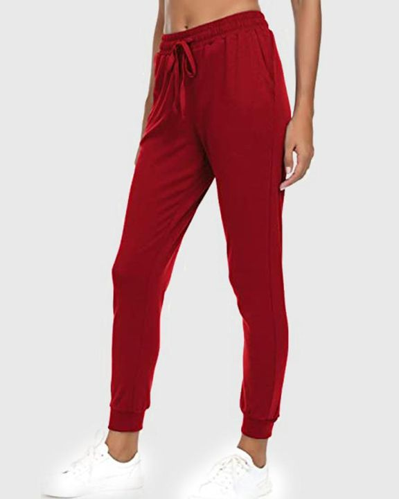 Solid Drawstring Front Pocket Detail Sports Pants gallery 11