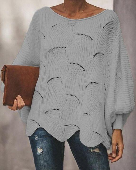 Open Knit Lantern Sleeve Scallop Hem Oversized Sweater gallery 7
