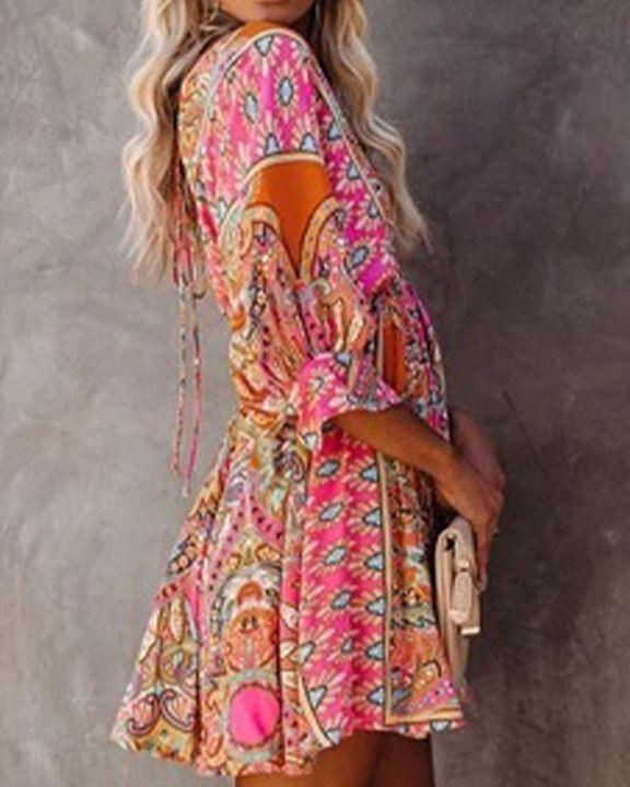 Tribal Print Ruffle Hem Tie Back Short Dress gallery 3