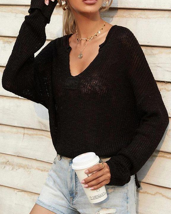 Chunky Knit V Neck Long Sleeve Sweater gallery 6