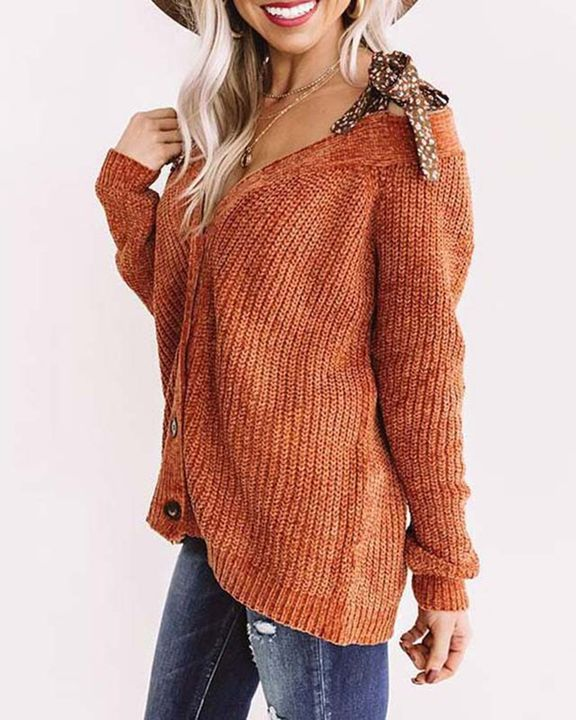 Floral Print Cold Shoulder Chunky Knit Sweater gallery 2