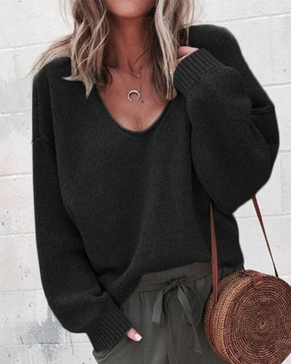 Solid Rib-knit Drop Shoulder Sweater gallery 2