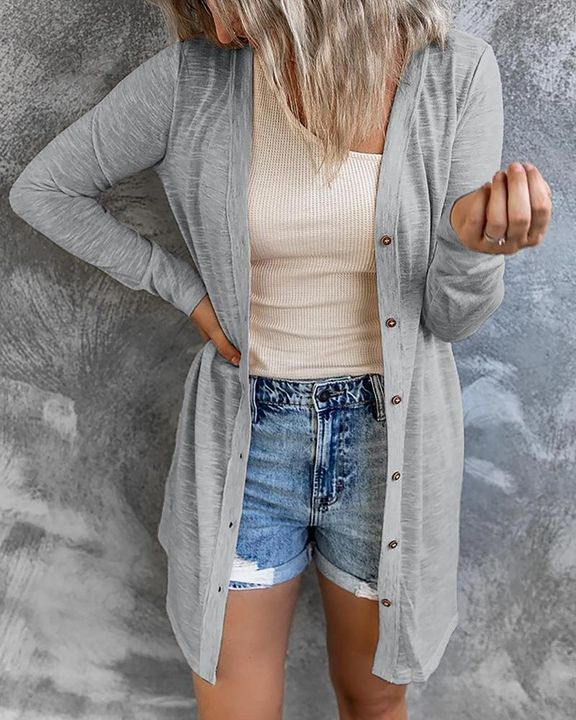 Solid Single Breasted Open Front Cardigan gallery 4