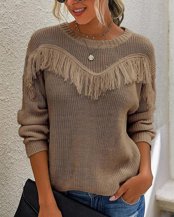 Solid Fringe Trim Drop Shoulder Sweater gallery 4