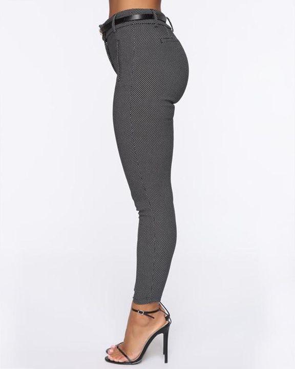 Plaid  Slant Pocket Self-Belted Mid Rise Pants gallery 3