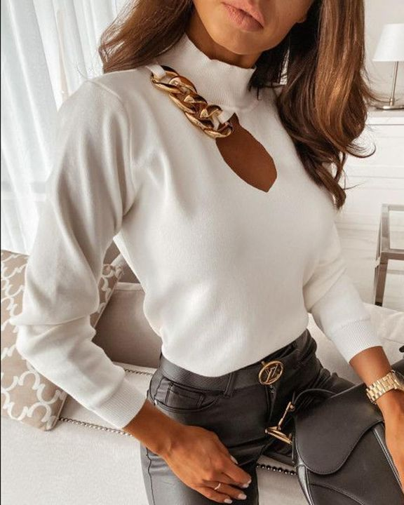 Chain Linked Keyhole Front Stand Collar Sweater gallery 6