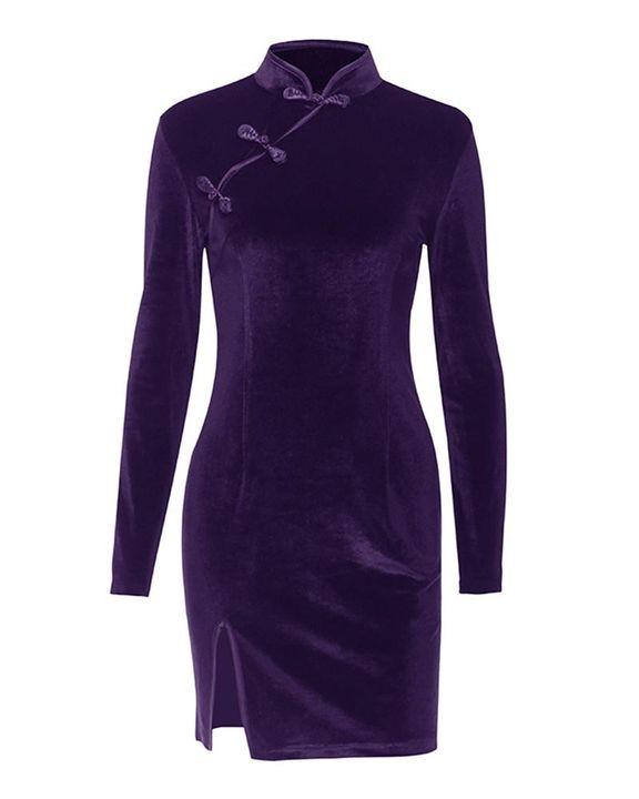 Velvet Split Hem Long Sleeve Qipao Style Dress gallery 2
