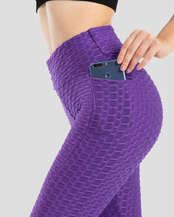Solid Textured Pocket Detail Scrunch Butt Sports Leggings gallery 3