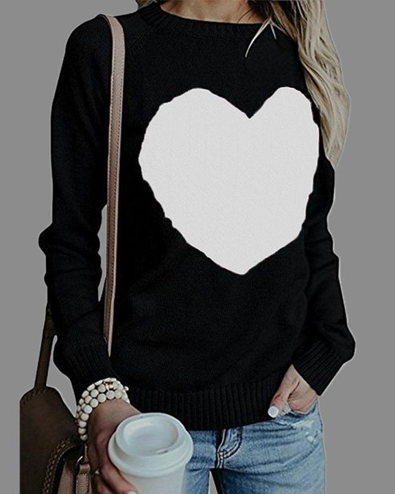 Colorblock Heart Pattern Chunky Knit Round Neck Sweater gallery 6