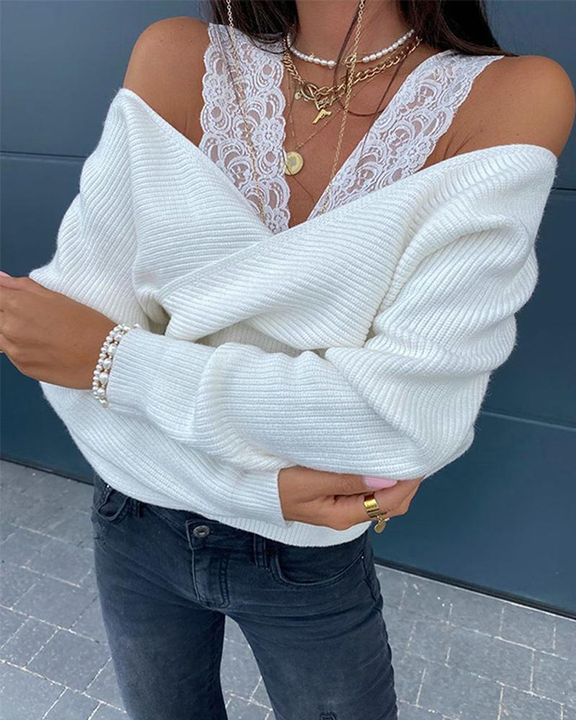 Contrast Lace Cold Shoulder Overlap Rib Knit Sweater gallery 1
