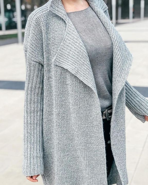 Solid Rib-Knit Open Front Lapel Neck Cardigan gallery 6