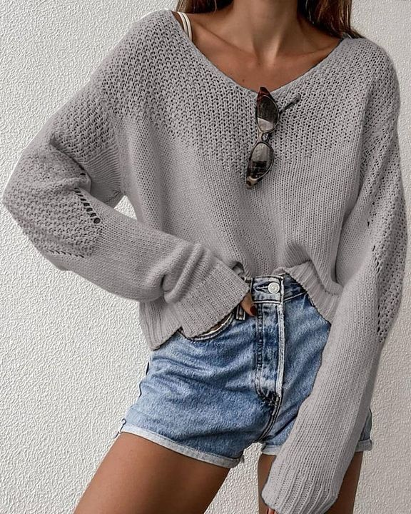 Crochet Drop Shoulder V Neck Sweater gallery 4