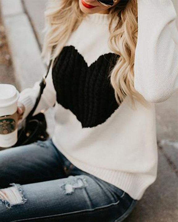 Colorblock Heart Pattern Chunky Knit Round Neck Sweater gallery 8