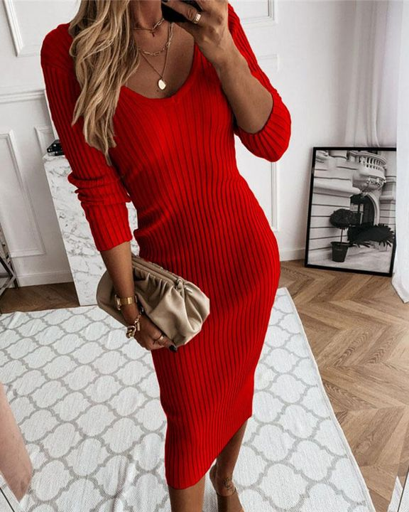 Solid Rib-Knit Form Fitted Maxi Dress gallery 3
