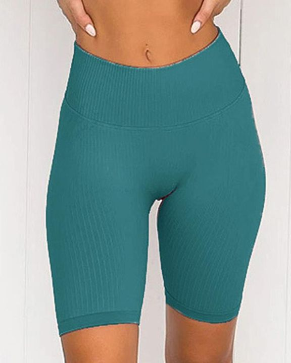 Rib-knit Wide Waistband Butt Lifting Sports Shorts gallery 5