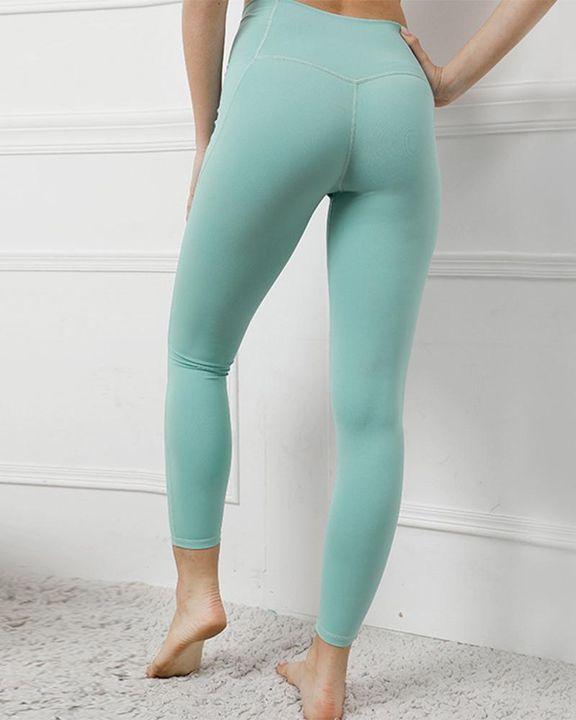 Contrast Stitch Pocket Side Softness Butt Lifting Sports Leggings gallery 10