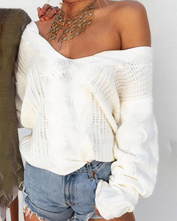 Mixed Knit Drop Shoulder Sweater gallery 1
