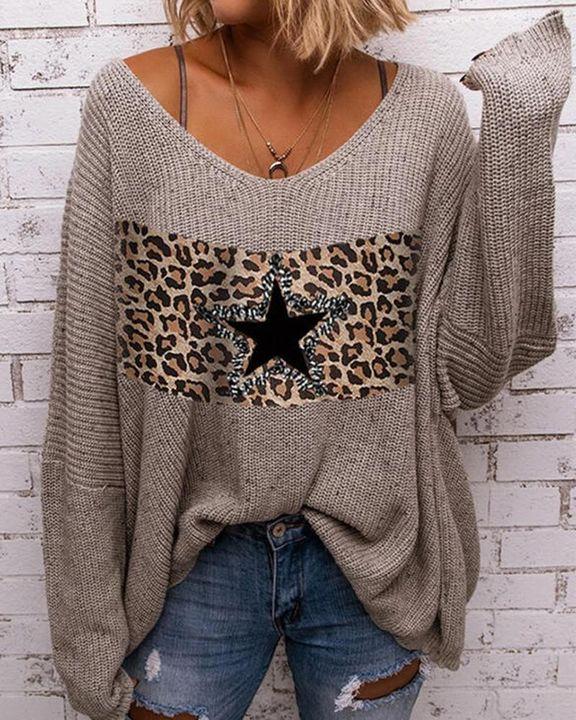 Leopard & Star Print Drop Shoulder Oversized Sweater gallery 1
