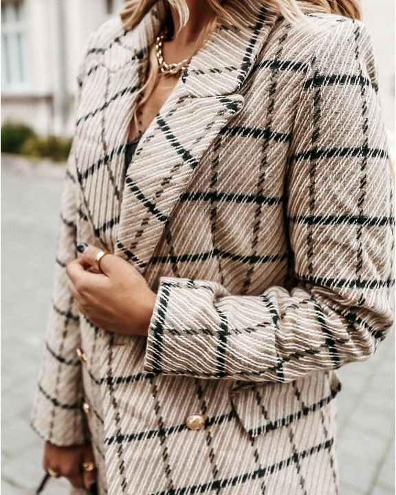 Houndstooth Double Breasted Lapel Neck Coat gallery 2