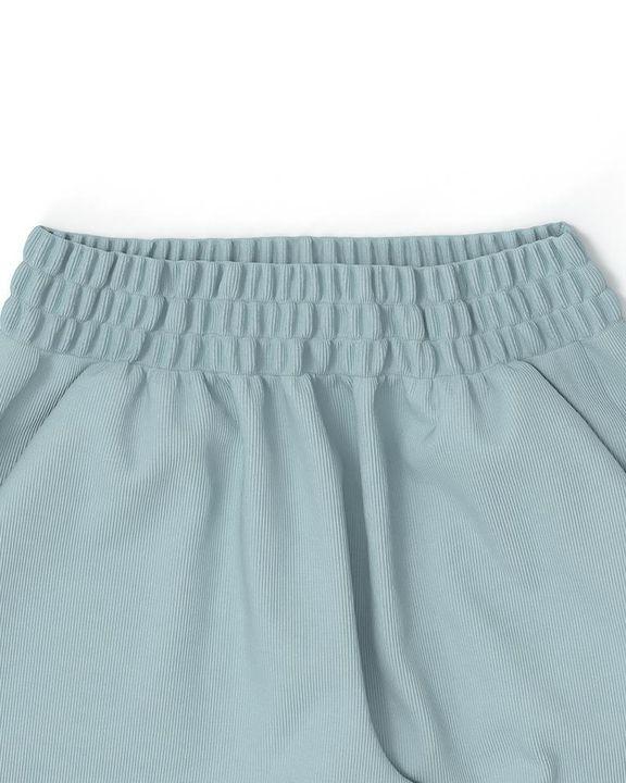 Solid Ribbed Long Sleeve Crop Top & Pants Set gallery 23